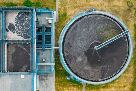 Water Treatment Plant with Round Cylinder of Clarifier Sedimentation Tank, Aerial Top View. Stock fotó - 128604425