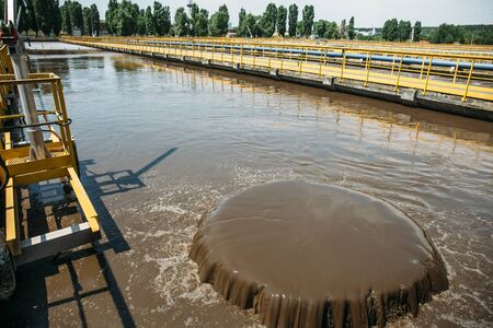 Tanks for aeration and biological purification of sewage in wastewater treatment plant. Banco de Imagens - 128604475