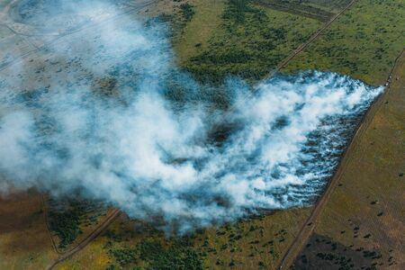 Wildfire in green fields from hot weather, aerial view, natural disaster accident, burning forest and huge clouds of smoke. Stock fotó - 128604476