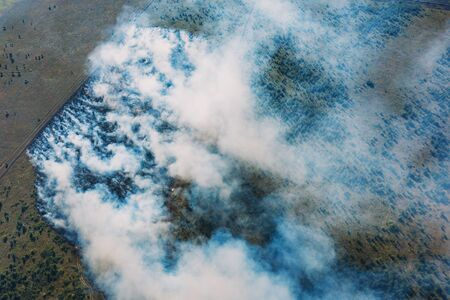 Wildfire in green fields from hot weather, aerial view, natural disaster accident, burning forest and huge clouds of smoke.
