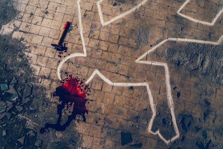 Crime scene investigation, chalk outline of victim body, blood and hammer - weapon of murder, toned