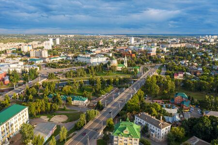 Aerial Panoramic view of historic center of Oryol or Orel city, Russia with bridge, Oka river, historical buildings and Orthodox temples, drone photo Фото со стока