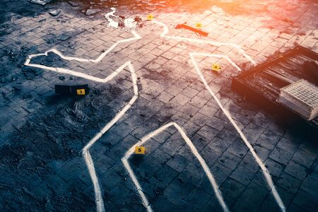 Body chalk outline, blood, markers with numbers and knife - crime scene, Police investigation concept, toned Stock Photo