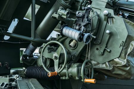 Russian military anti-tank artillery gun, close up of guidance and control mechanism. Stock fotó