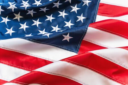 American Flag or United States of America national flag background, close up.