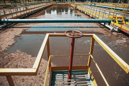 Wastewater treatment plant. Dirty water cleaning facilities. Sewage purification.