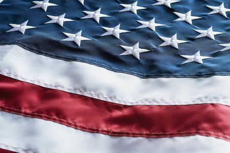 American Flag or United States of America national flag background, close up. Banco de Imagens