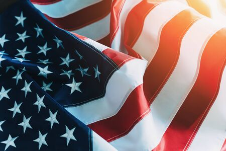American Flag or United States of America national flag background in sunlight, close up. Stock Photo