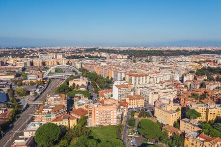Residential area with buildings in Rome, Italy. Many orange and yellow houses, Aerial view from drone. Stok Fotoğraf