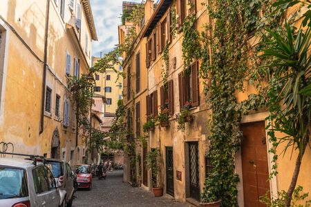 Rome, Italy - October 2019 : Rome city street and old architecture buildings in historic center, Italian capital.