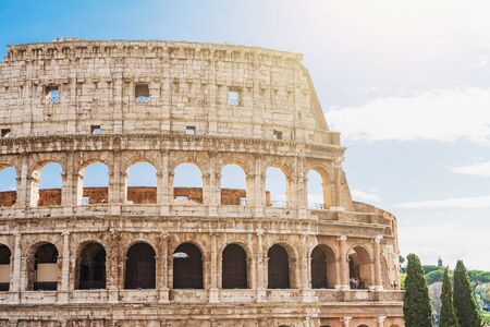 Coliseum or Colosseum or Flavian Amphitheatre exterior wall, close up, Rome, Italy. Stok Fotoğraf