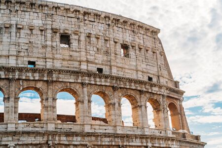 Rome, Italy. Close up of ruins of Colosseum or Coliseum wall .