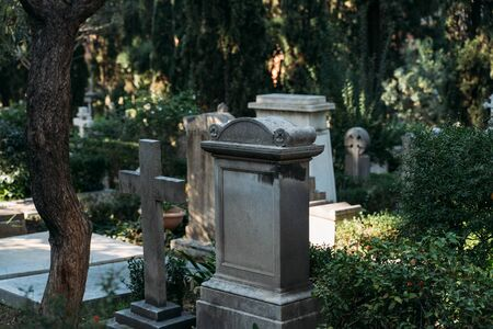 Non catholic cemetery for foreigners in Rome, Italy. One of most beautiful and little known places in city.