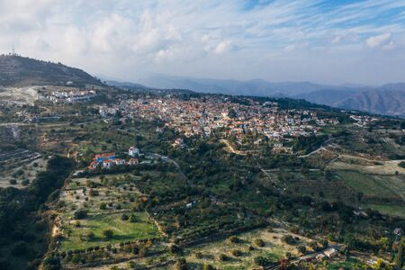 Aerial view from drone of old Lefkara village in Larnaca region, Cyprus. Beautiful ancient countryside in mountain mediterranean landscape.