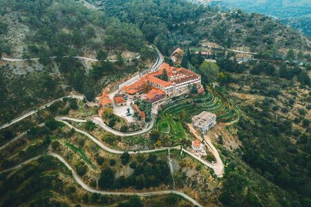 Machairas Monastery in Cyprus aerial view from drone, beautiful ancient monastery in mountains, toned Stok Fotoğraf