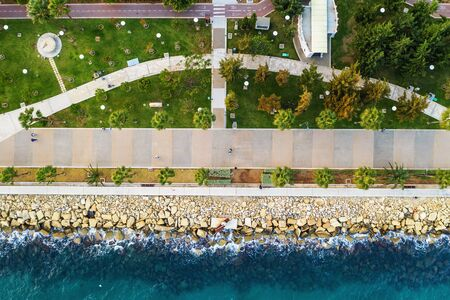 Limassol promenade or embankment aerial top view with palms. Beautiful mediterranean Cyprus city resort. Stok Fotoğraf