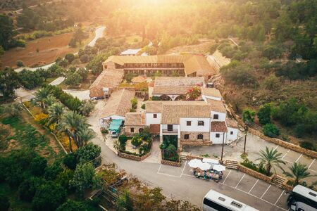 St. Thekla Monastery, near highway to capital of Cyprus Nicosia, in village of Mosfiloti in rural area, aerial view. Famous for healing mud. Mediterranean culture and old religious building.