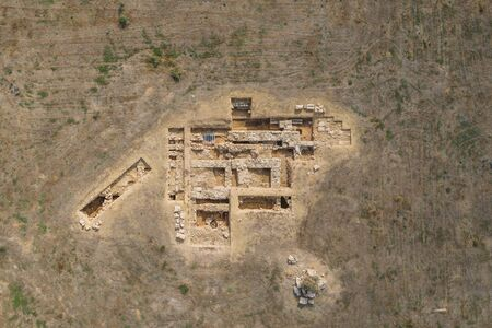 Aerial top view of ancient ruins in Pafos, Cyprus. Famous attractions in Paphos city. Banque d'images