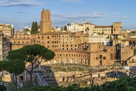 Ancient ruins of Trajan Forum or Foro Traiano in Rome, Italy. View from above.