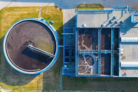 Water Treatment Plant or factory with Clarifier Sedimentation Tank, Aerial Top View. Imagens