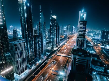 Dubai downtown skyline at night from above, United Arab Emirates.