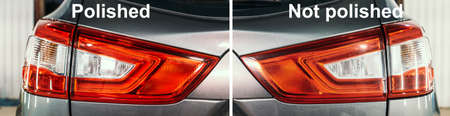 Polished and not polished or unpolished optics of rear lights of car, before and after concept.