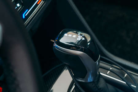 Gear Shift Selector. Gear lever close up. Modern Automatic Transmission in Car.