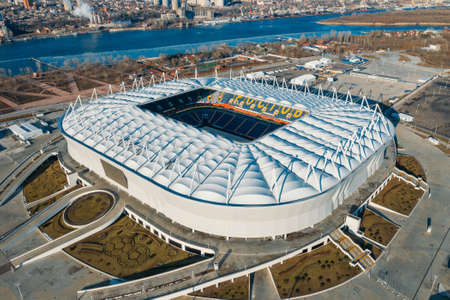 Rostov-on-Don, Russia - February 2021: Rostov Arena - Modern Football Stadium Aerial view.