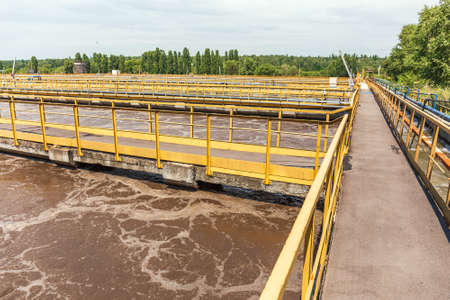 Wastewater treatment plant, aerated activated sludge tank.