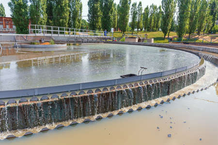 Modern wastewater treatment plant. Round tanks for sedimentation of dirty water.