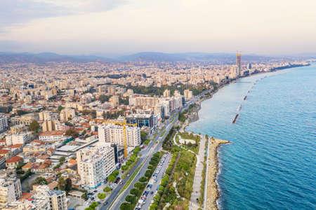 Molos Promenade park, aerial view. Limassol city coastline,Cyprus.