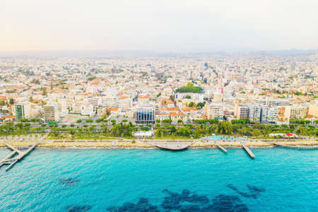Limassol city coastline aerial panorama, blue mediterranean sea and famous Molos park, Cyprus. Imagens
