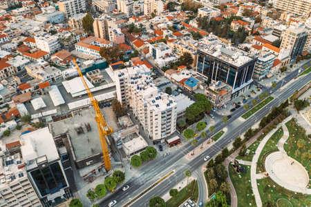 Limassol buildings on promenade aerial top view, Cyprus, modern mediterranean city resort.