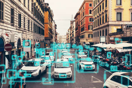 Detection and recognition of cars and faces of people. AI analyze BIG DATA. Artificial intelligence AI concept as technology for safe city in future.