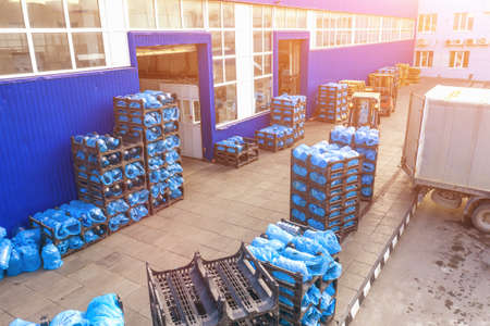 Warehouse with open gates and goods in pallets ready for loading and logistic transportation from real estate factory territory. Imagens