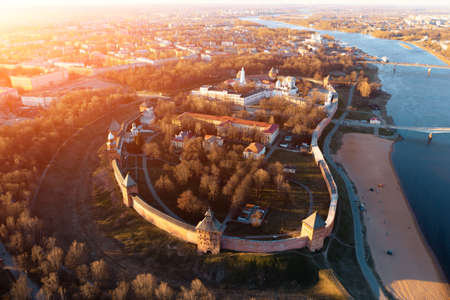 Veliky Novgorod, Kremlin in historical center, ancient city landmark and tourist famous place, aerial view from drone.