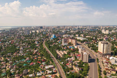 Voronezh city, aerial view from drone in sunny summer day, Russia. Foto de archivo