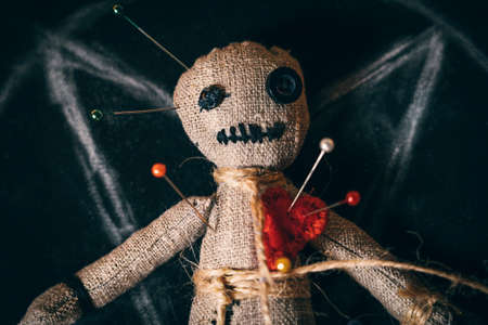 Voodoo rag doll with buttons instead of eyes and studded with needles, close-up top view. Foto de archivo