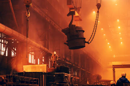 Foundry workshop. Metallurgical plant. Heavy Metallurgy industry background.