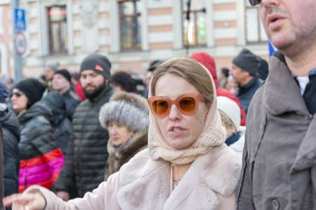 25 February 2018, RUSSIA, MOSCOW. , Ksenia Sobchak on the march of the memory of Boris Nemtsov in the center of Moscow, The Boulevard Ring, Russia. Éditoriale
