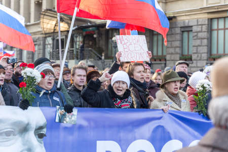 25 February 2018, RUSSIA, MOSCOW. March of the memory of Boris Nemtsov in the center of Moscow, The Boulevard Ring, Russia. Éditoriale