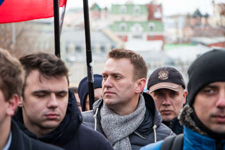 25 February 2018, RUSSIA, MOSCOW. Alexey Navalny on the march of the memory of Boris Nemtsov in the center of Moscow, The Boulevard Ring, Russia. Éditoriale