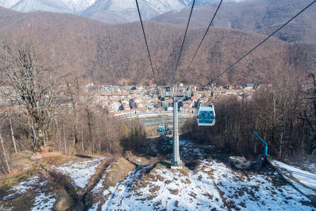 funicular railway cable car ski resort in the snowy mountains of Sochi