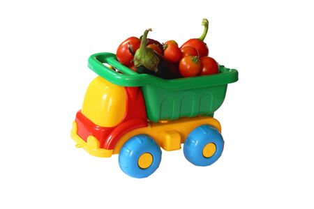 Toy truck with vegetables