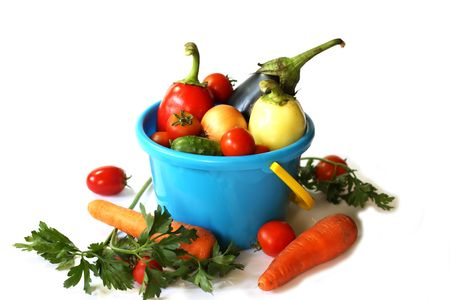 Toy pail with vegetables