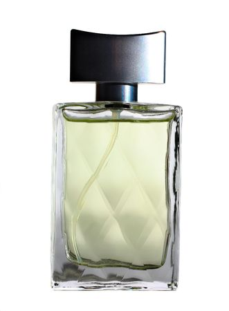 A bottlle of perfume isolated on the white Stock Photo