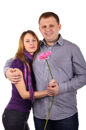 Young Lovely couple isolated on the white background
