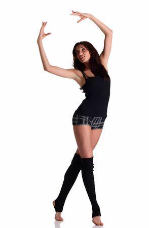 Girl dancing ballroom dance at whte background Stock Photo