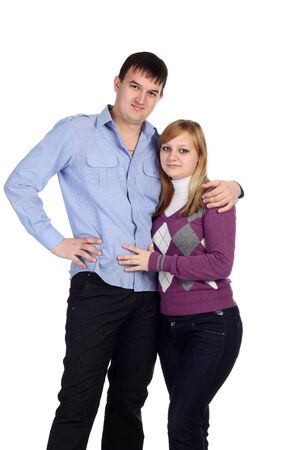 Young Lovely couple isolated on the white background photo