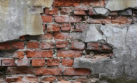 demolished: Broken bricks at the old obsolete wall